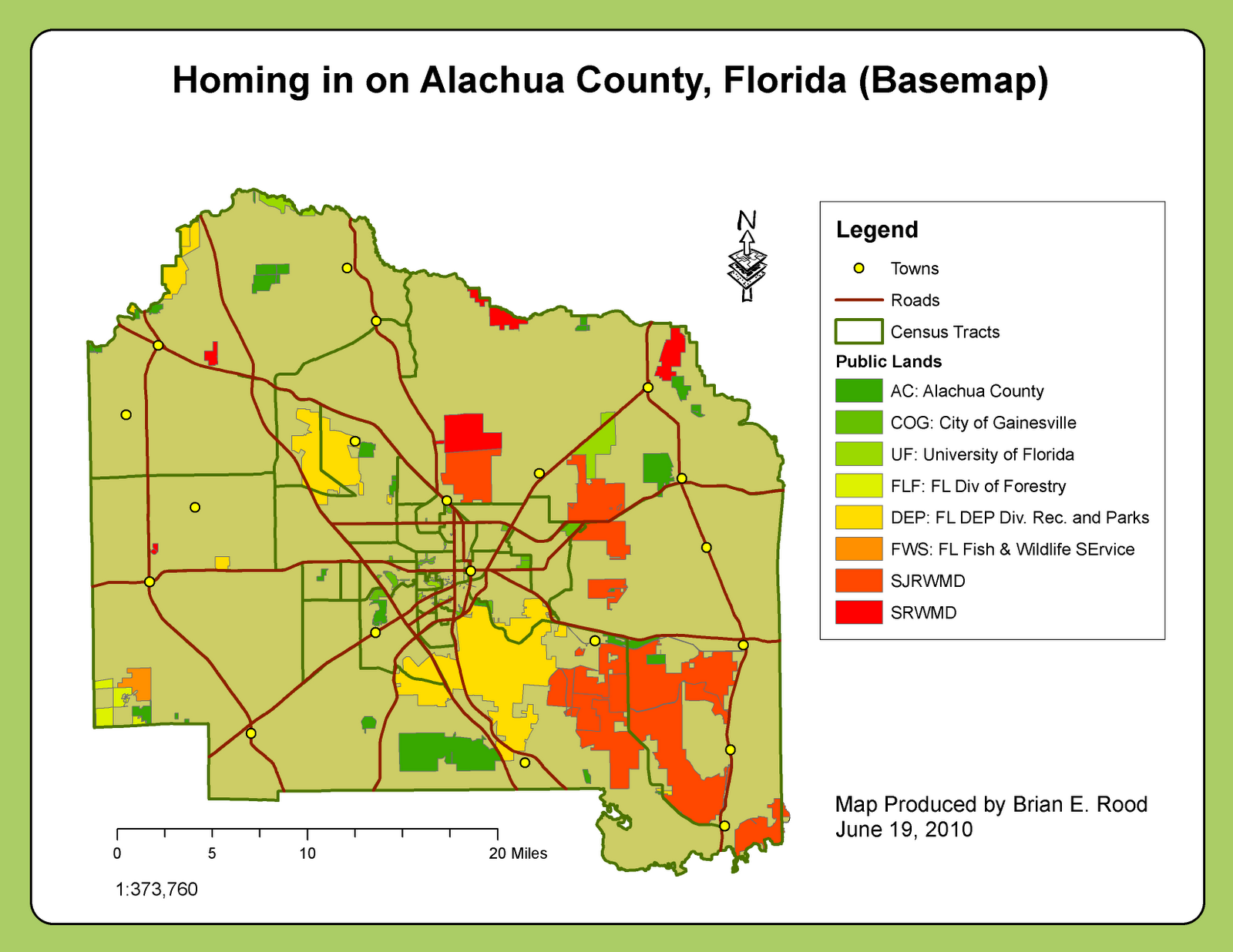 Applications In GIS Rood Week  Homing In On Alachua County FL - Florida county map with population