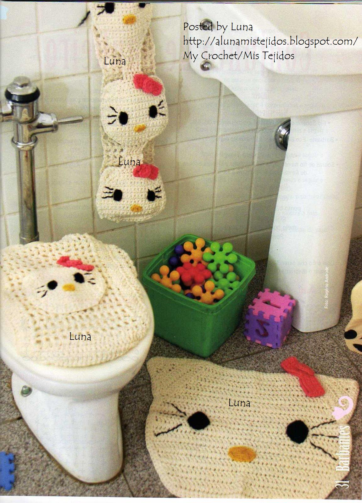 Hello Kitty Tapete Croche : Juegos De Bano En Crochet