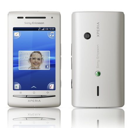 The company offers the Xperia X8 smartphone in White, Dark Blue/White,