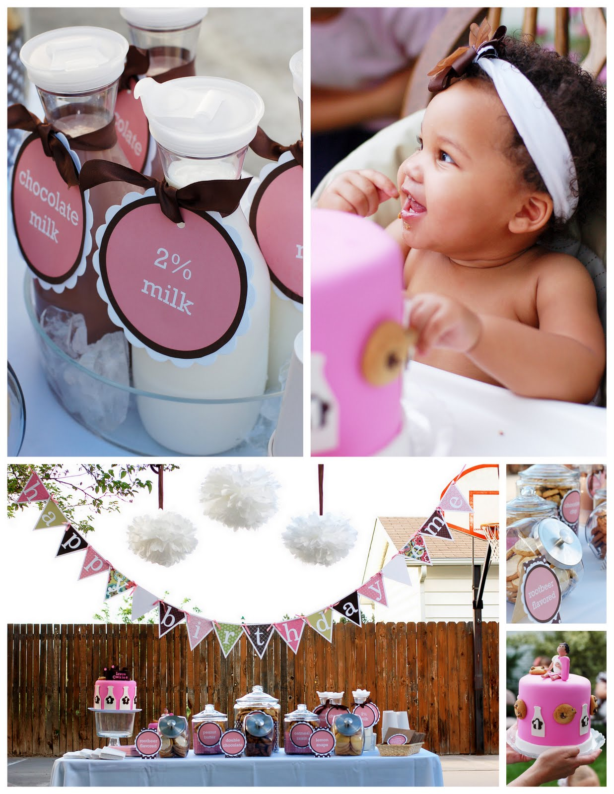 Kara 39 s party ideas cookies and milk 1st birthday kara 39 s for Baby girl birthday party decoration ideas