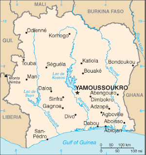 Map of Côte d'Ivoire