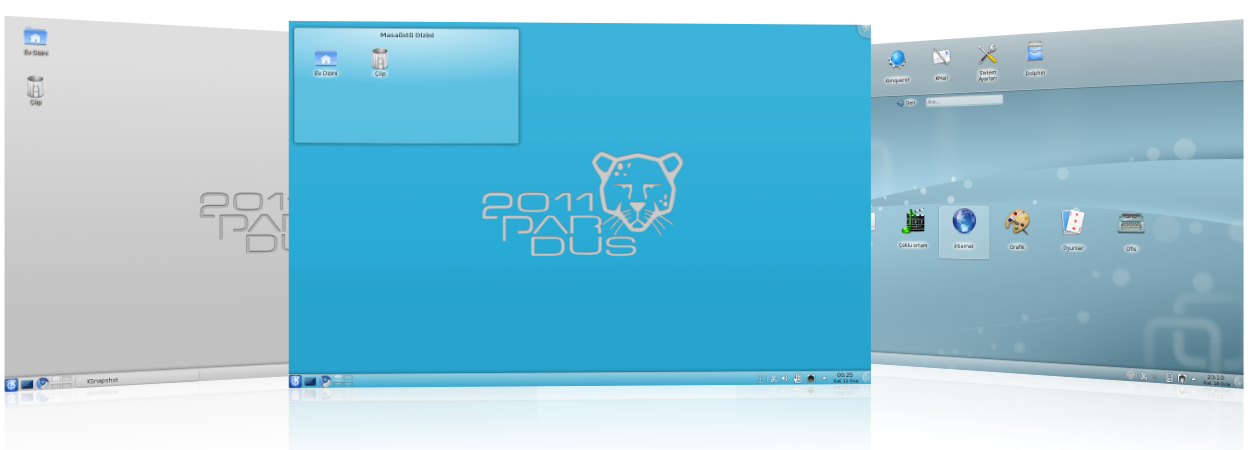Klasik, Plasma ve Netbook çalışma alanları ile KDE 4.5.5