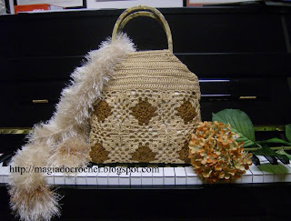 mala crochet bege castanha quadrado cachecol