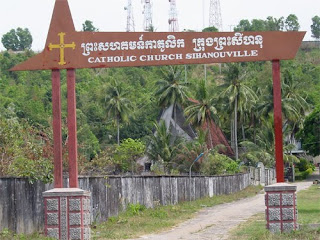 Sign: St. Micael catholic Church Sihanoukville