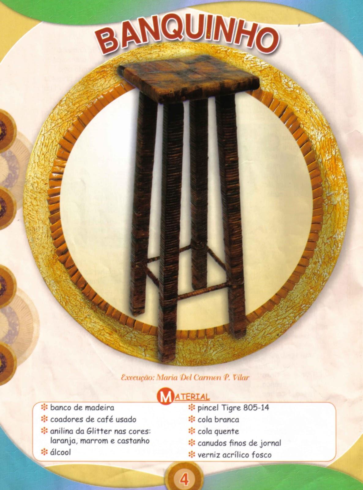 Banco de Madeira Revestido com Coador de Papel Usado e Jornal  Passo a #AD881E 1186x1600