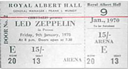 Led Zeppelin Ticket Concert 1970