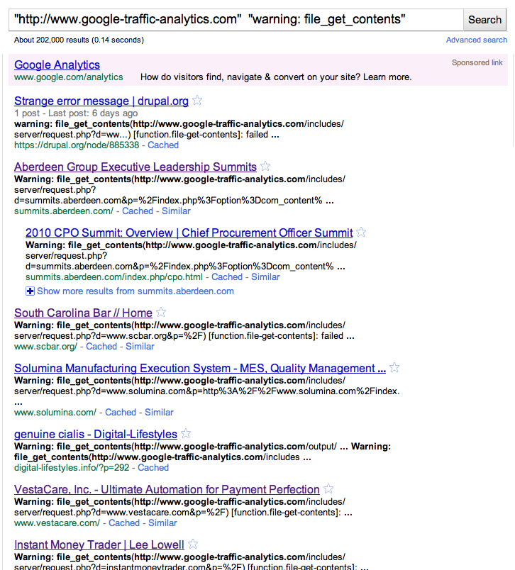 Google list of Sites with spam