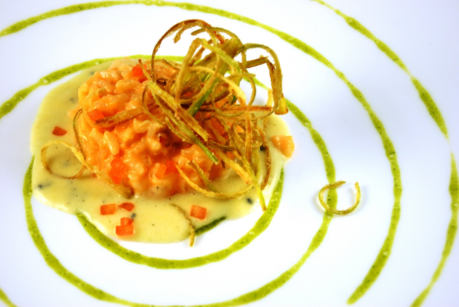 Lobster Risotto with Truffled Corn Jus, Crispy Leeks