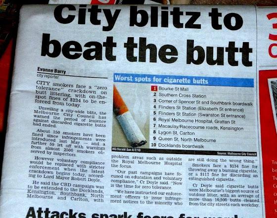 Los 10 peores lugares para encontrar colillas de cigarrillo en Australia