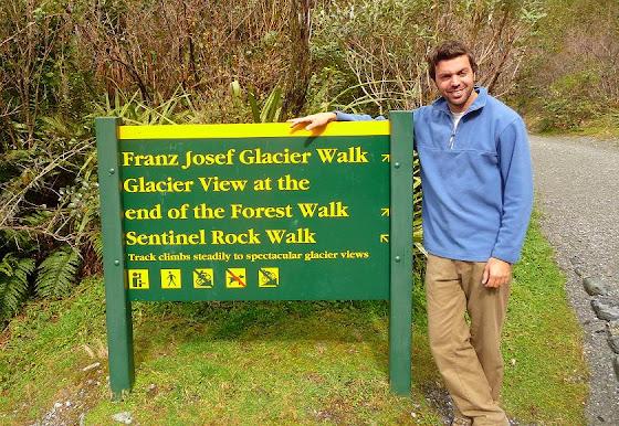 Aquí estoy yo en el Franz Josef Glacier para hacer la caminata