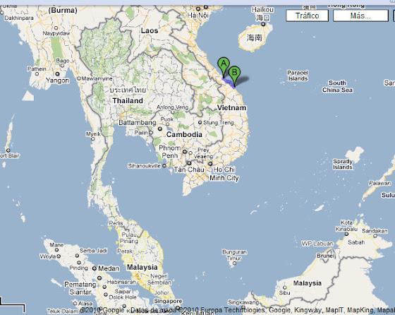 Mapa del recorrido en moto por Vietnam