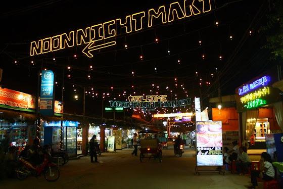 El Night Market en Siem Reap, Cambodia