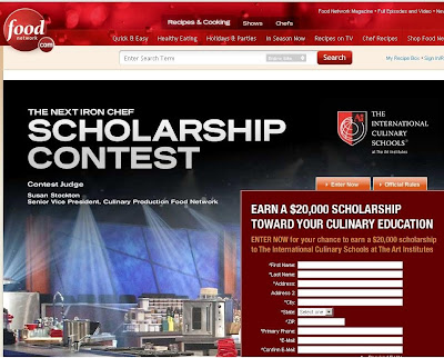 Food Network Next Iron Chef Scholarship Contest at Www.FoodNetwork.Com/Scholarship 