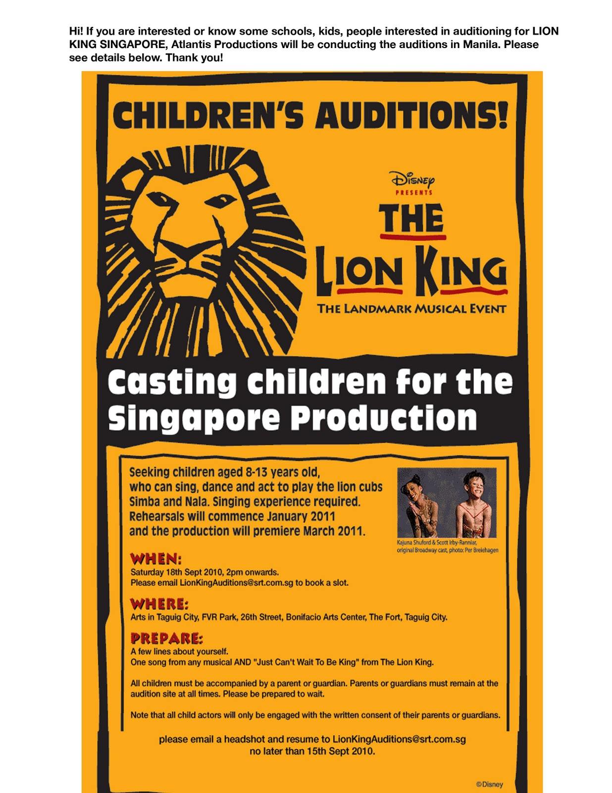 THE LION KING Auditions start in Madrid