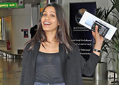Freida Pinto spotted at Heathrow Airport