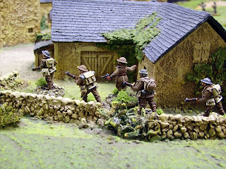 British entering village