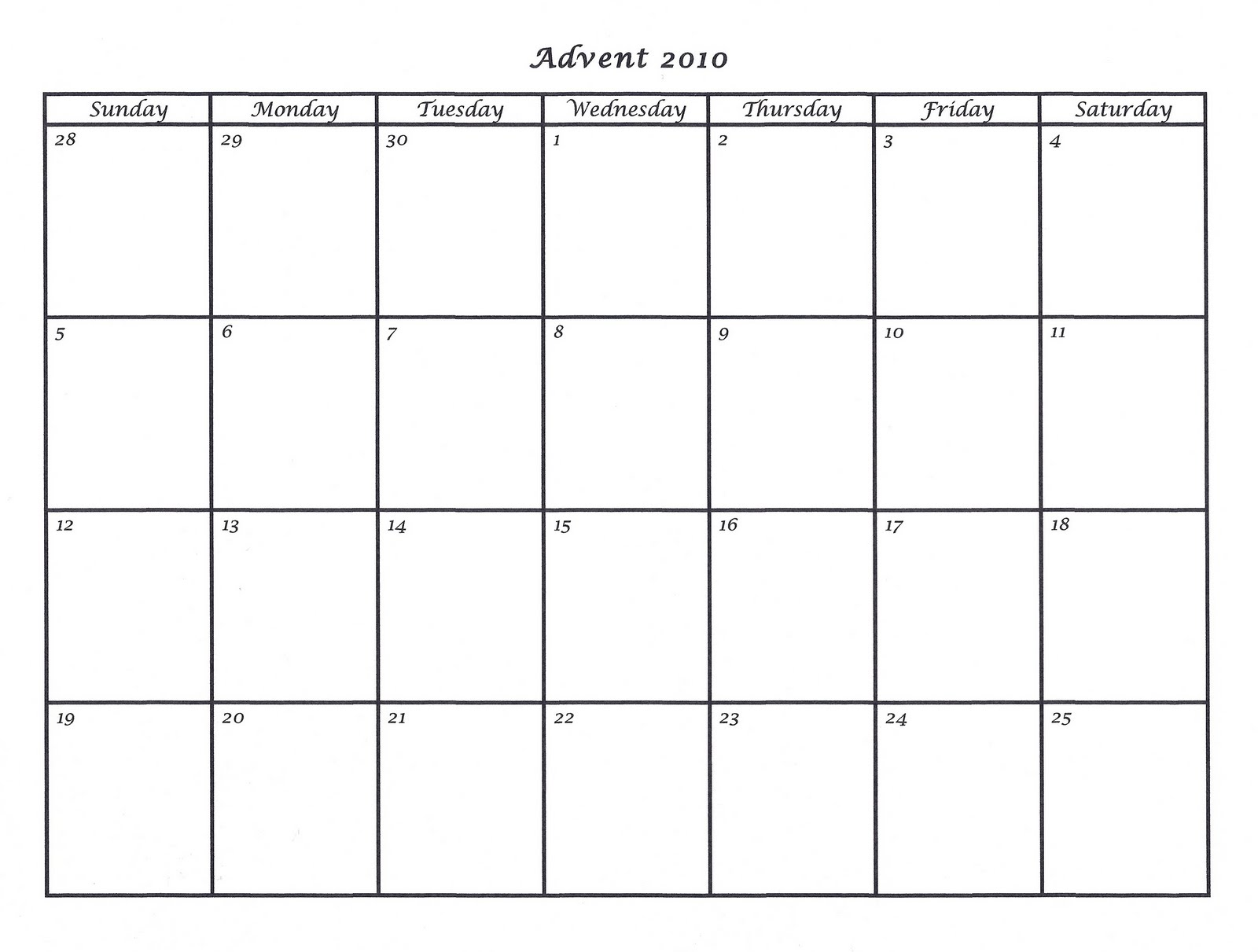Mostly markers 2010 advent calendar template 2010 advent calendar template saigontimesfo