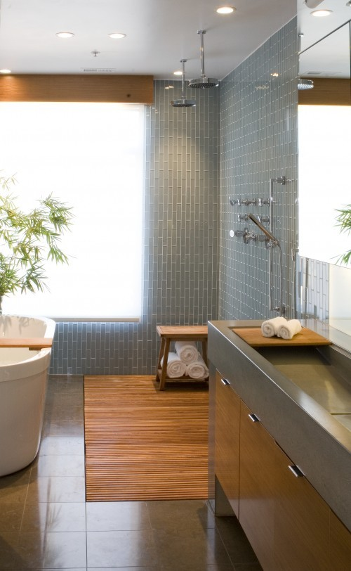 Modern 24 seven unusual tile gray bathroom love for Grey wood floor bathroom