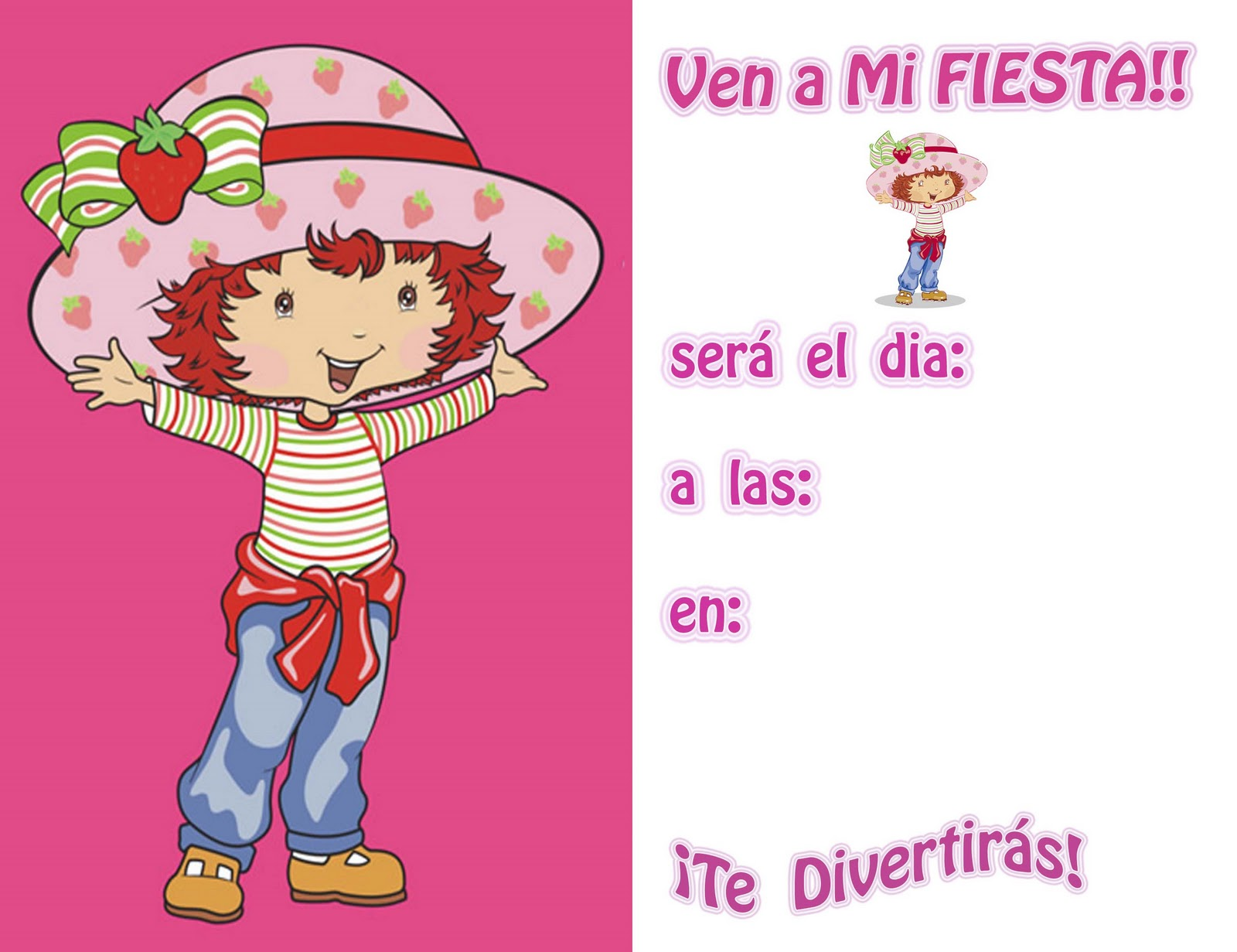MUNDO DE INVITACIONES*: invitaciones Rosita Fresita para imprimir