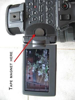 Sony FX1 Sony Z1 magnet flip hack