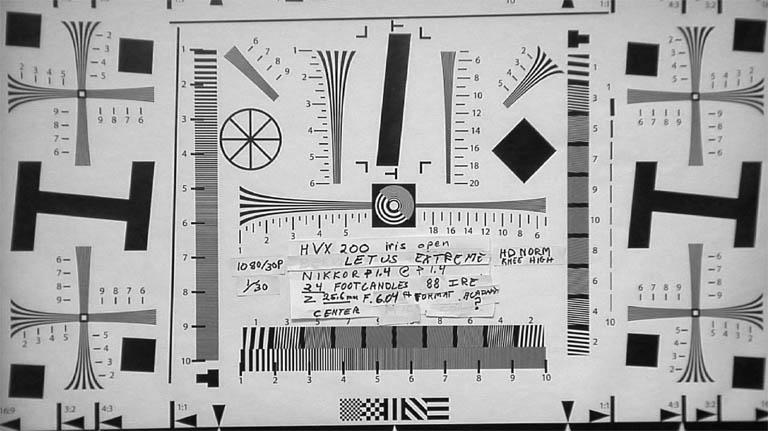 HVX200 Letus Extreme test chart