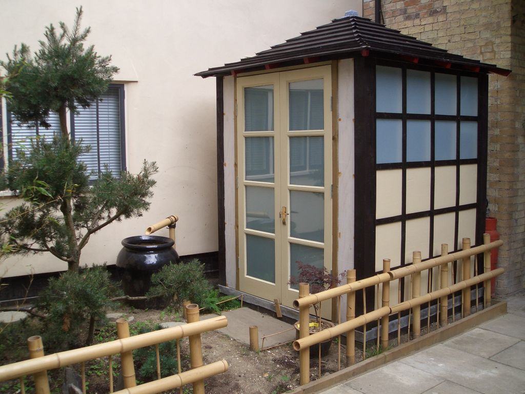Shedworking japanese tea house style garden brewshed for Japanese style garden buildings