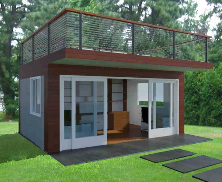 Shedworking jorge fontan 39 s garden office with roof deck for Outside office shed