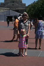 Addison and her Granny in front of the Statue of Liberty