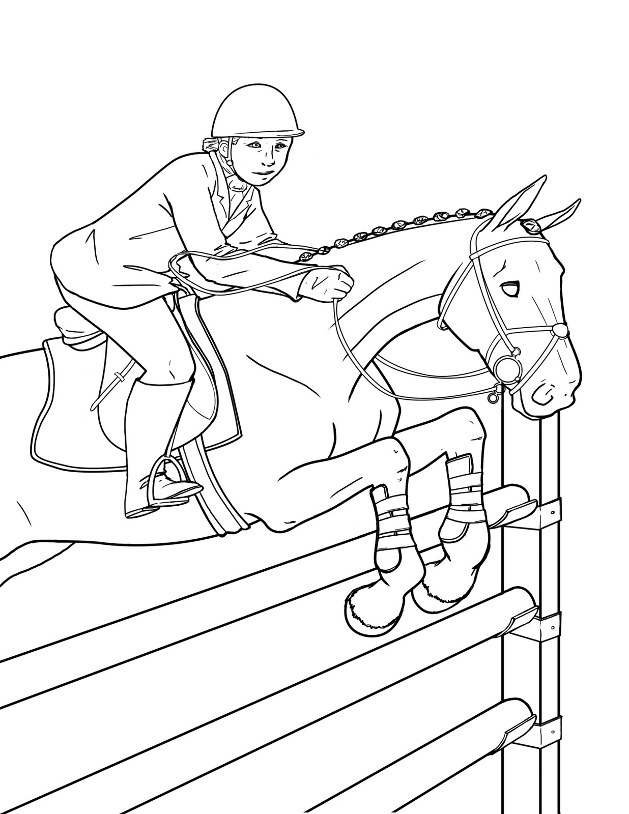 horse jumping coloring pages - photo #16
