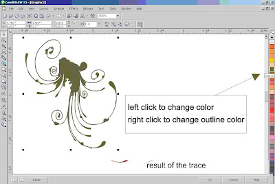... vector image, and left click the color in the right side corel draw