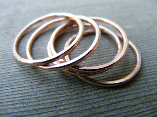shiny copper stacking rings