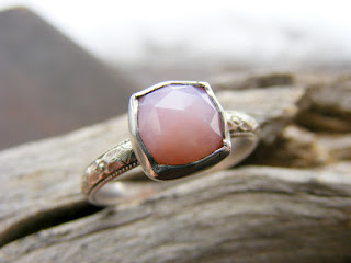 faceted pink peruvian opal ring