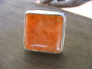 fire agate chunky sterling silver square ring