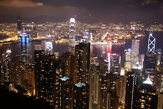 Picture of the Hong Kong Skyline taken at night from The Peak