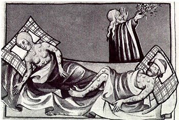 Engraving of Black Death victims showing buboes from the Toggenburg Bible, 1411, sourced from the Wikimedia commons