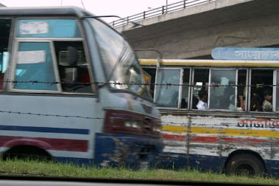 image of buses at a standstill