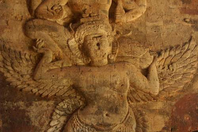 Bas-relief image of the garuda that Vishnu is riding from the inside of the central room in Prasat Kravan, consecrated in 921 in the Khmer reign of Harshavarman I (915-923).