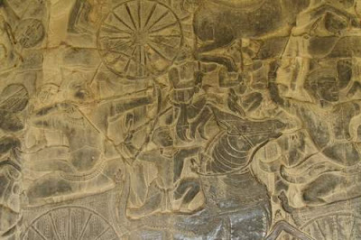 Image of a battle scene from a corridor in Angkor Wat, image 3 of 3.