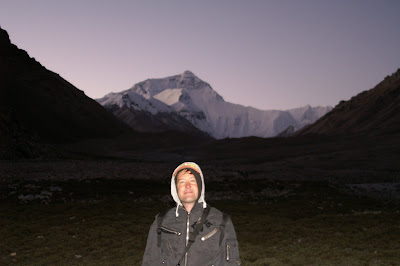 Your humble scribe in front of Mt. Everest from the Tibetan side.