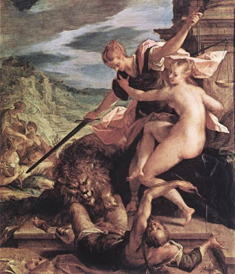 Image of Allegory (aka The Triumph of Justice) by Hans von Aachen (1552-1615), Oil on copper, 56 × 47 cm, Alte Pinakothek, Munich. Image from the public domain, sourced from the Wikimedia Commons under the grounds that the originating image is in the public domain and faithful reproductions of two-dimensional public domain works of art are public domain, and that claims to the contrary represent an assault on the very concept of a public domain.