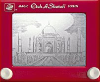 Image of the Taj Mahal (in India) created by artist Jeff Gagliardi on an Etch-a-Sketch (Permission to use this image sought and received from Jeff Gagliardi).     CLICK IMAGE TO GO TO THE ARTIST'S WEBSITE!
