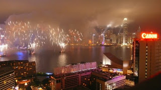 Image of fireworks against a backdrop of Victoria Harbour, Hong Kong Island, 2009.