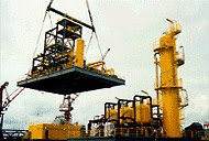 PAST PROJECT - A COMPLETED FPSO MONDO BEING LIFT-UP BY HERCULES CRANE