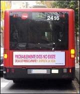 el bus ateo llega a Barcelona