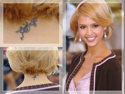 Jessica Alba . Turns out the ladybug tattoo on the back of Jessica's neck