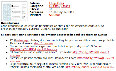 ejemplo de información sobre Twitter en SuperPataNegra