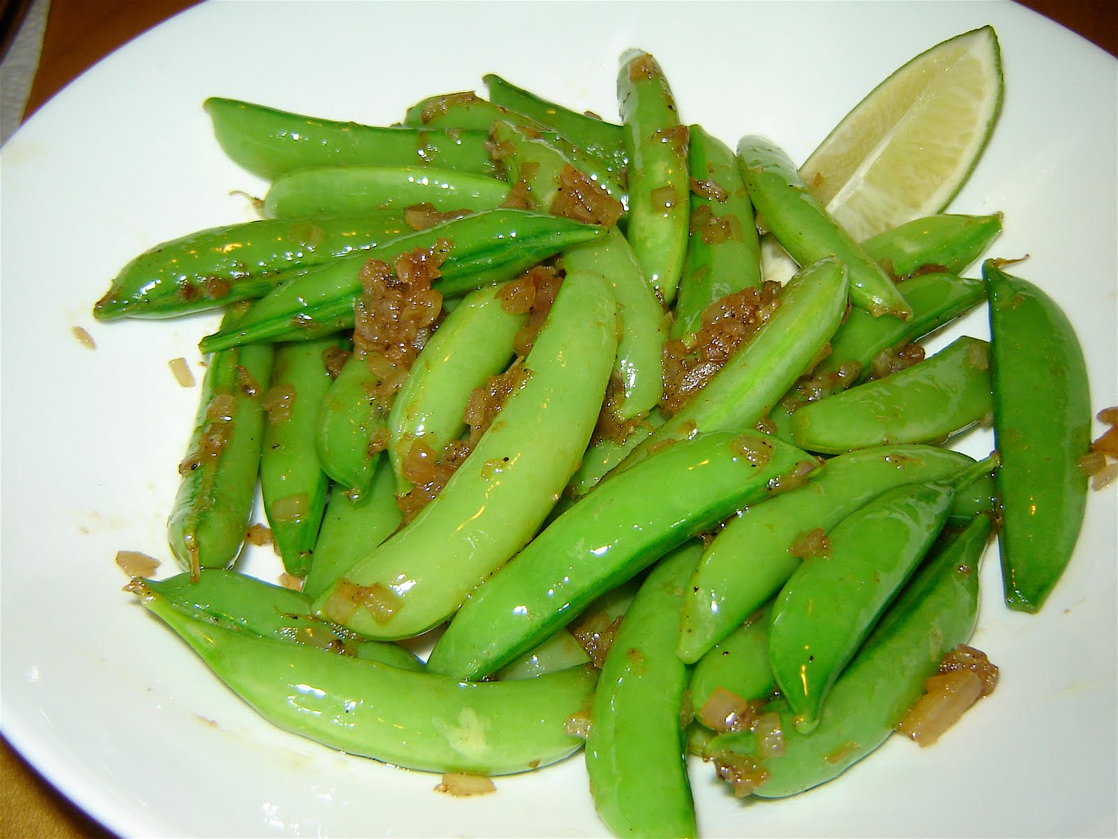 Snap Peas With Crispy Shallots Recipe — Dishmaps