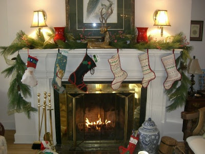 Sweet as a peach stockings hung from the staircase with care for Hang stockings staircase