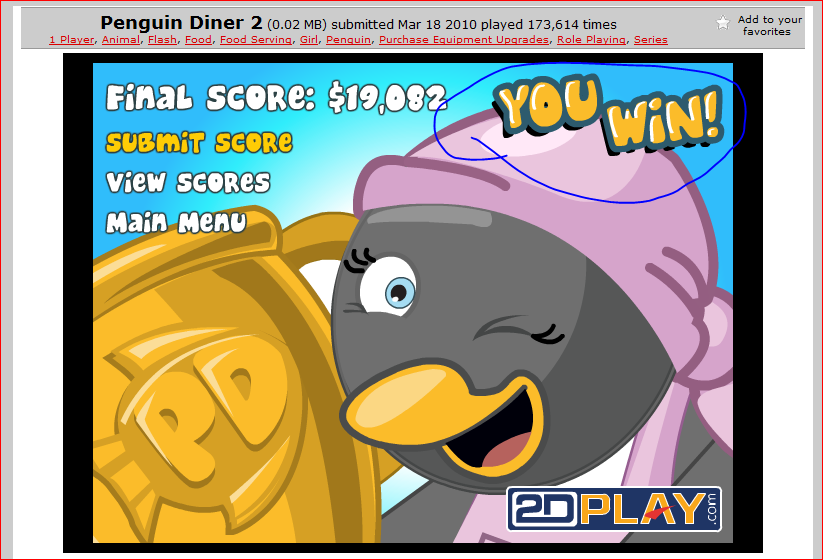 This game i m one of the top scorers of penguin diner 2 by 2dplay