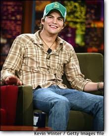 Ashton Kutcher sporting his John Deere hat